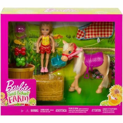 Mattel Barbie Sweet Orchard Farm Set Doll Pony Straw & Accessories Toy Kids Gift