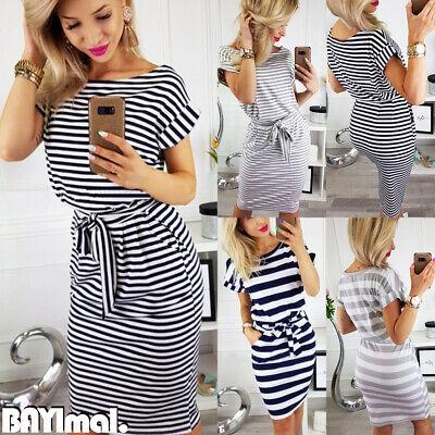 Womens Round Neck Short Sleeve Midi Dress Lady Summer Casual Striped Shirt Dress