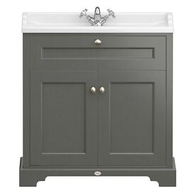 Bathroom Vanity Unit & Basin-Brand New, Unopened, Victorian Plumbing /Charcoal Downton Abbey Range