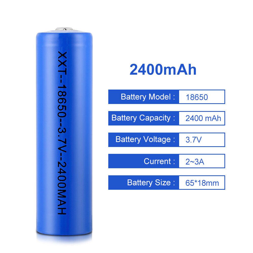 Wiederaufladbar Batterie Solar LED Akku Rechargeable 18650 LI-ON 2400mAh 3,7V