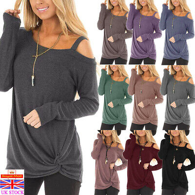 Women Winter Cold Shoulder Sweater Ladies Casual Pullover Jumper Tops Sweatshirt
