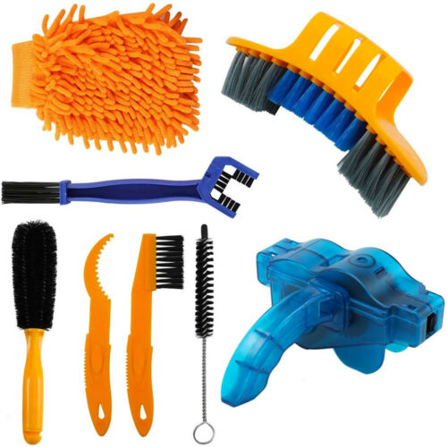 8Pcs Cleaning Tool Brush Kit Bicycle Bike Motorcycle Tire Chain Gear Wash Wheel
