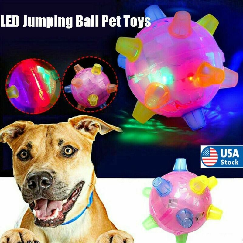 US Bouncing Flashing Pet Dog Ball For Games Light-Up LED Play Jumping  Chew Toys