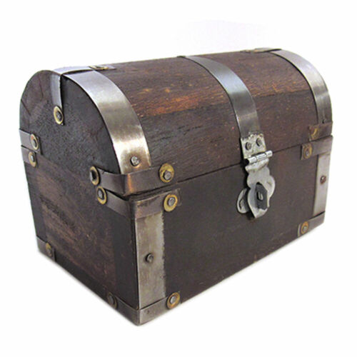 "Small Pirate Treasure Chest 5"" Domed Lid Antique Style Wooden Trinket Gift Box"