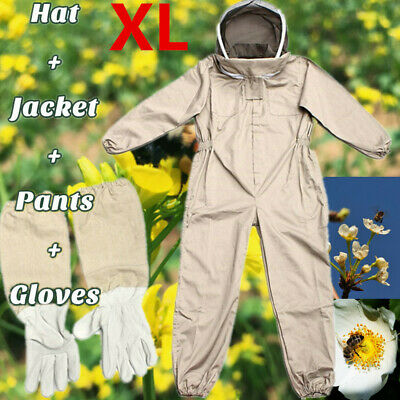 Unisex Ventilated Full Body Beekeeping Bee Keeping Protect Suit W Glove Hat Xl