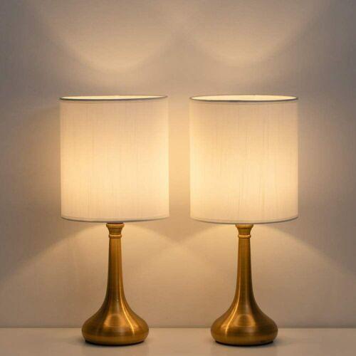 Set of 2 Vintage Bedside Lamp White Lampshade Nightstand Lig