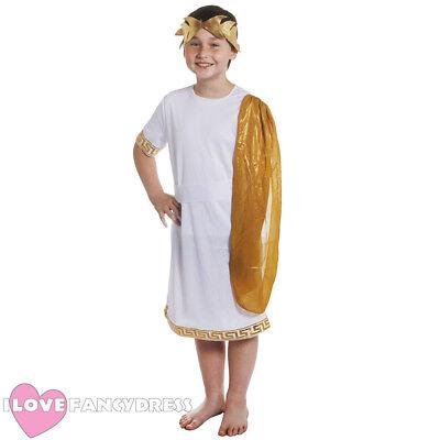 BOYS ROMAN GOD COSTUME SCHOOL CURRICULUM HISTORICAL FANCY DRESS CHILDS TOGA