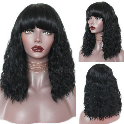 Black Synthetic Wig Loose Curly Afro African American Wigs Bob Style for Women ()