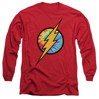 FLASH TIE DYE FLASH LOGO Licensed Adult Men's Long Sleeve Graphic T-Shirt SM-3XL (Cheap Tie Dye Shirts)