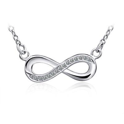 Womens Infinity Diamond   Sapphire Accent Silver Pendant Necklace