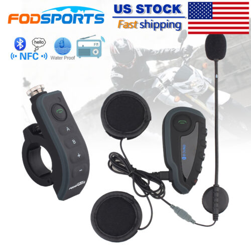 BT Intercom Motorcycle Bluetooth Moto Headset Helmet Interphone Remote 1200M V8
