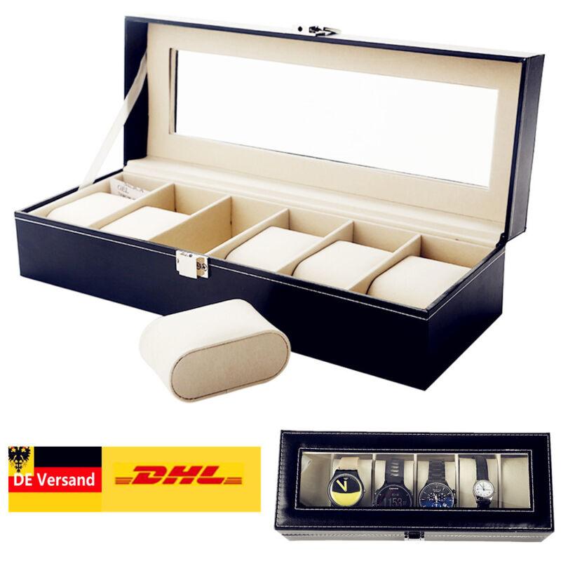 Uhrenbox Uhrenkoffer für 6 Uhren Uhrentruhe Uhrenkasten Uhrenschatulle PU Lerder