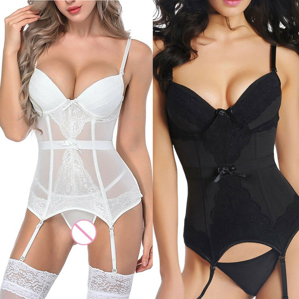 Women's Bustier Corset Skirt Girdle Waist Cincher Bodydoll White Lingerie Dress