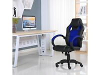 SPORTS RACING GAMING OFFICE COMPUTER LEATHER CHAIR BLACK & BLUE BRAND NEW