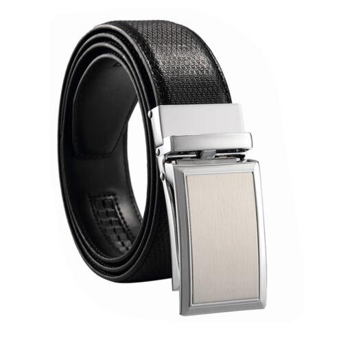 Men Genuine Leather Alloy Automatic Buckle Waistband Belt Waist Strap