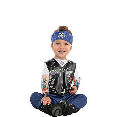 Baby Biker Halloween Costume Motorcycle Rider Tattoo Boys Kids Infant 0-6 - Biker Babe Costume Halloween