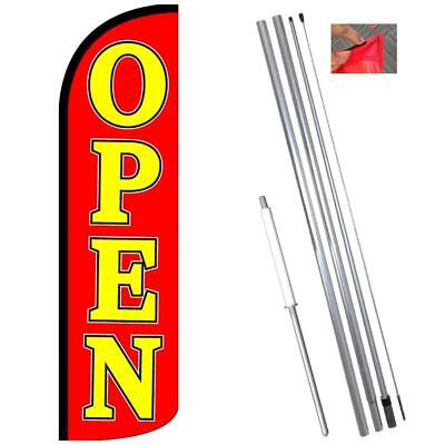 Open Windless Feather Flag Kit Bundle Flag Pole Ground Mount