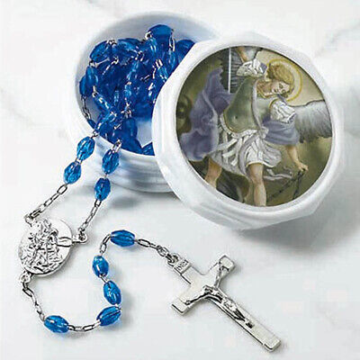Silver Plated Archangel Saint St Michael Rosary Necklace Blue Beads Prayer Case ()