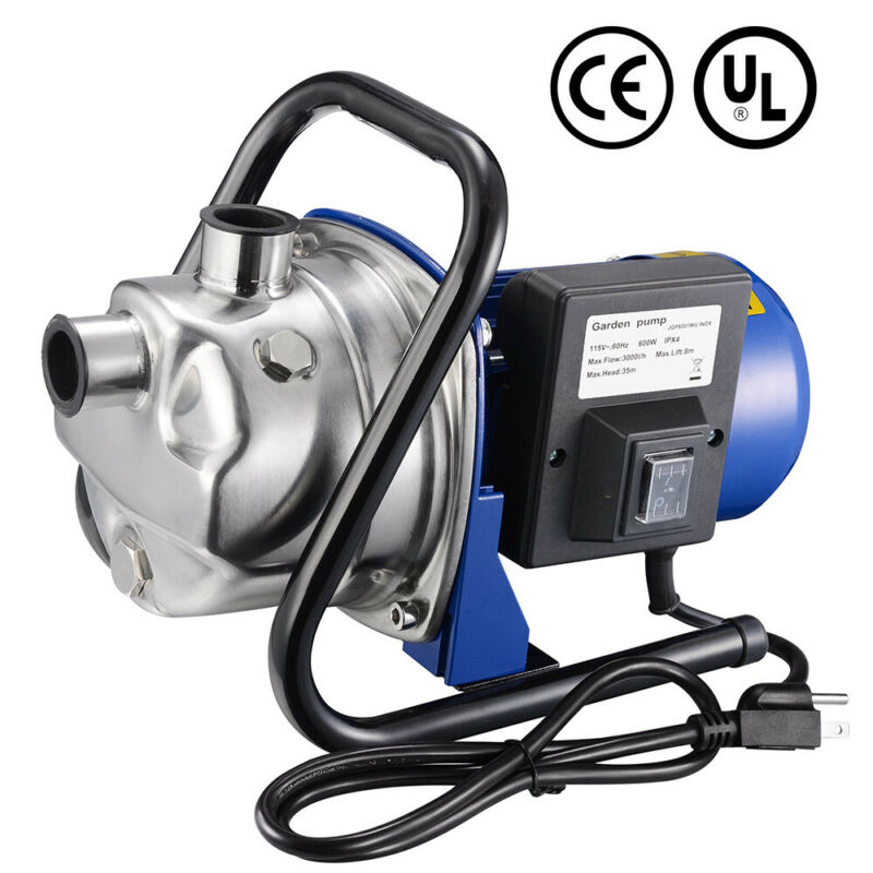 600W Electric Water Booster Pump Stainless Steel Garden Sprinkler Pump Pond Pool
