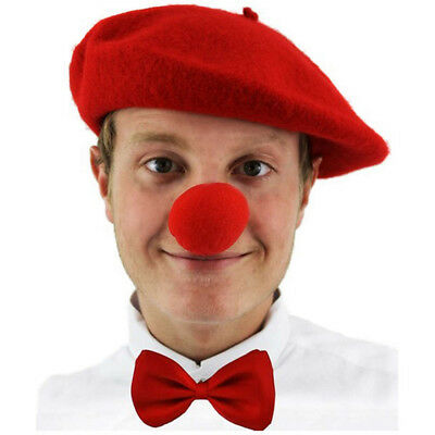 3 PIECE COMIC SET RED BERET HAT BOW TIE SPONGE NOSE FRENCH CLOWN PARTY STAG