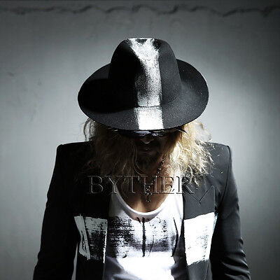 ByTheR Men's Black Gothic Fashion White Mohican Custom Wool Felt Fedora Hat UK (White Felt Fedora)