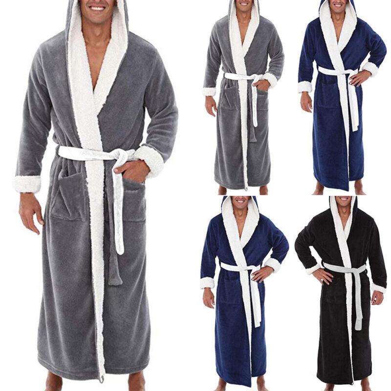 Mens Casual Baggy Winter Bathrobe Bath Robe Dressing Gown Lo