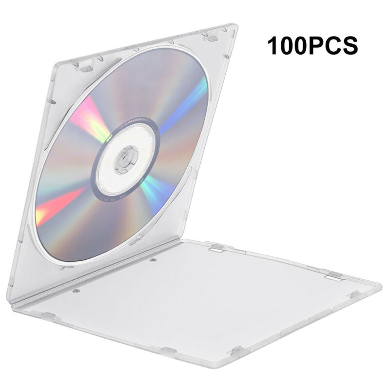 100 Pack Single Clear CD DVD R CDR DVDR Disc PP Poly Plastic Jewel Case 5.2mm