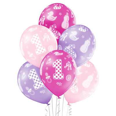 Set 1 Geburtstag Mädchen 30 cm Luftballon 1st Birthday Girl (Mädchen Luftballons)