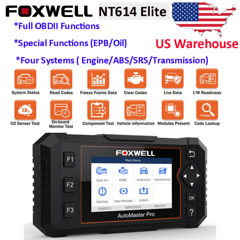FOXWELL NT614 Elite Auto Scanner Diagnostic Car Code Reader OBD2 Scanner Oil EPB