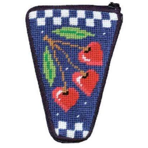 Stitch & Zip Needlepoint Scissor Case Kit - Cherry Hearts