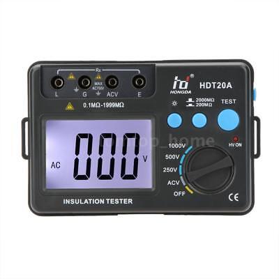 Hdt20a 1000v Lcd Digital Insulation Resistance Tester Megohmmeter Voltmeter D3i3