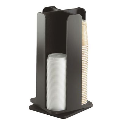 Cal-mil Midnight Black Bamboo Revolving Lid And Coffee Cup Dispenser 4-section