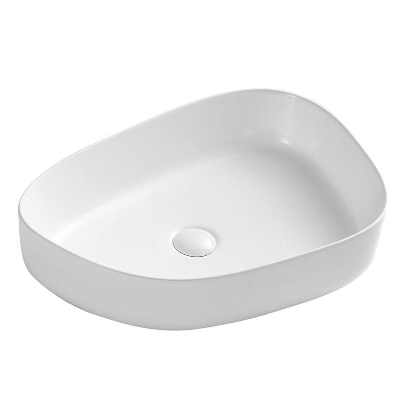 Eridanus Vessel Sink Ceramic Bathroom Basin Bowl with Pop-up Drain White Vanity