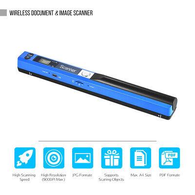 SCANNER PORTATILE WIRELESS PALMARE A4 FORMATO 900 DPI JPG / PDF DISPLAY LCD C7S4