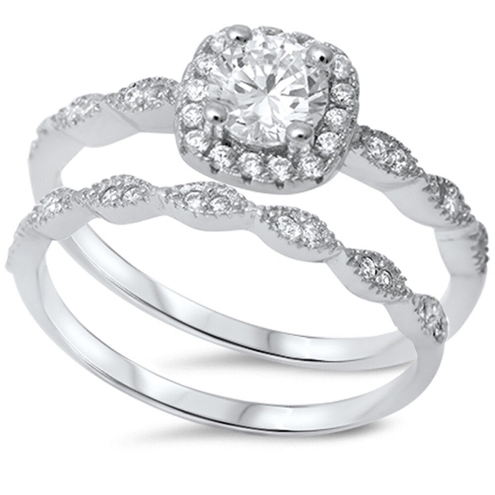 Sterling Silver 925 CZ Halo Round Vintage Engagement Ring Wedding Bridal Set