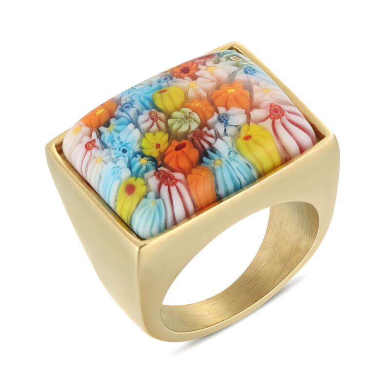 5Pcs/Lot Women Ladies Stainless Steel Cute Flower Stone Square Plated Gold Rings