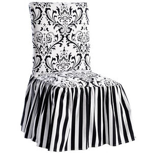 white dining room chair covers   Black White Damask and Stripe Dining Chair Cover Set of 2 ...