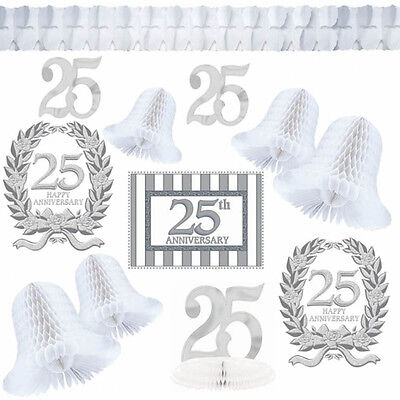 12 Piece Silver 25th Anniversary Party Decorating Kit Pack