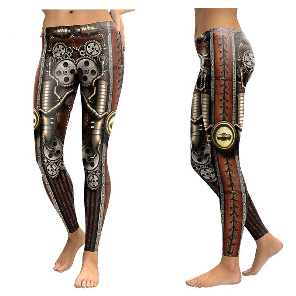 New Steampunk Machine Iron Mechanical Belts Armour Cogs Premium Leggings Goth