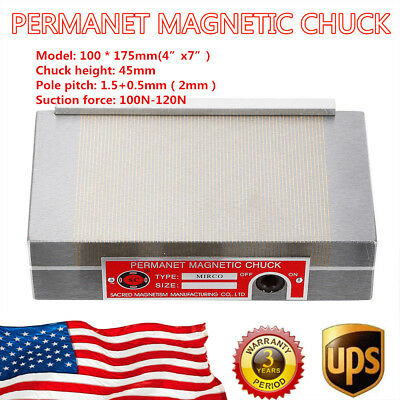 100175mm Permanent Magnetic Chuck Surface Grinder Chuck Tools Fast Shipping Us