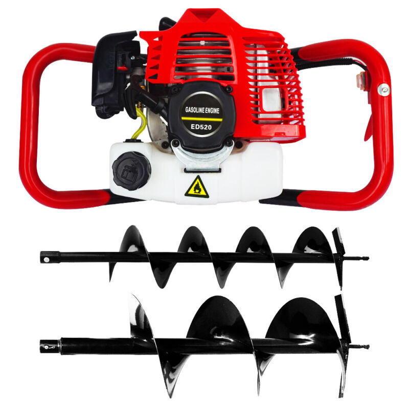 """2.5HP Gas Powered Post Hole Digger with TWO Earth Auger Drill Bit 6"""" & 10"""""""