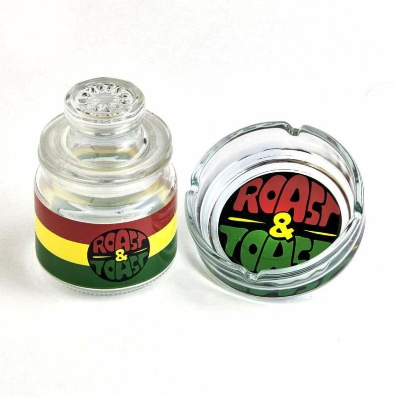 FASHIONCRAFT Glass Ashtray and Stash Jar Set. Bright Rasta Colors. A Great Gift