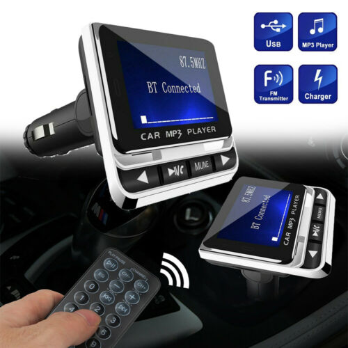 Bluetooth Car Kit FM Transmitter Wireless USB Charger Hands-Free Call 1.4 inch