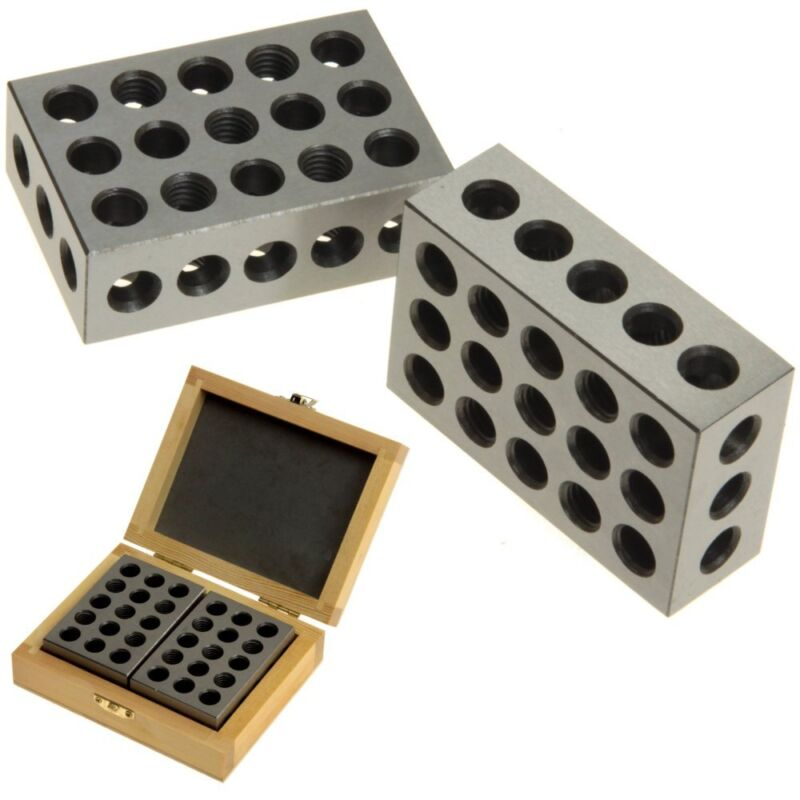 123 Mill Block Set Matched Pair 1-2-3 Precision Machinist Milling Wood Case