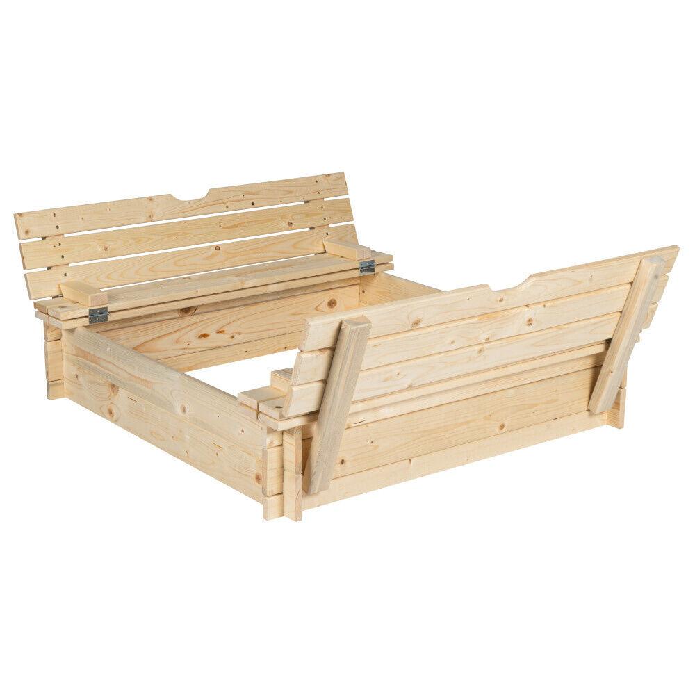 Sandkasten mit Abdeckung und Sitzbänken aus Holz Sandbox Sandkiste Buddelkiste