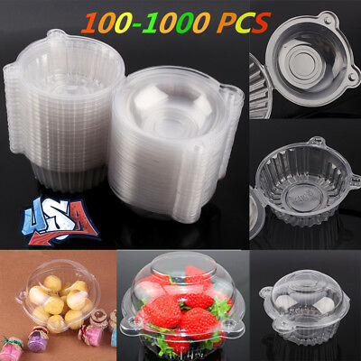 100-1000 Single Clear Plastic Cupcake Dome Favor Box Container Wedding Party - Single Cupcake Boxes