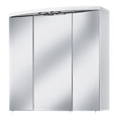 Spiegelschrank Badezimmerspiegel Hängeschrank mit Beleuchtung Verona perl weiß