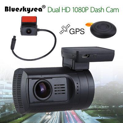 0906 GPS Car Dash Rearview Camera 1080P G-Sensor Loop Recording 145° Wide Angle