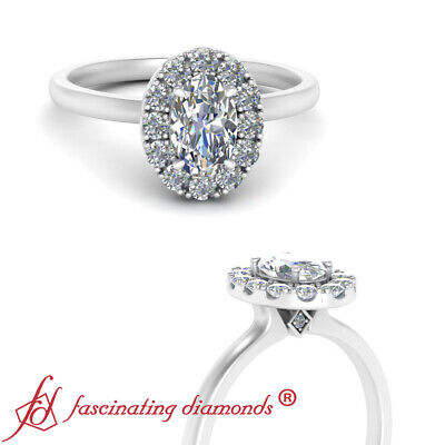 White Gold Oval Shaped Diamond Plain Shank Simple Halo Engagement Ring 0.90 Ctw