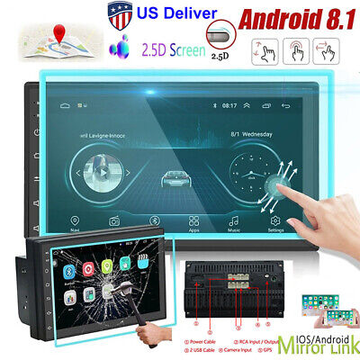"7"" Android 8.1 Car Stereo Radio Audio 2DIN GPS Navi Wifi MP5 2.5D Tempered Glass"